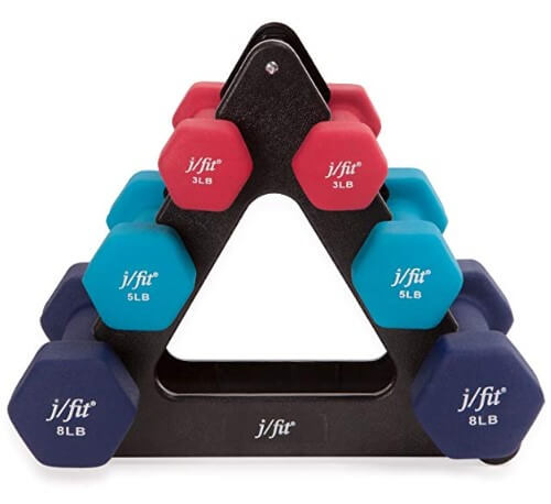 7. j/fit Dumbbell Set with Rack best home gym equipment